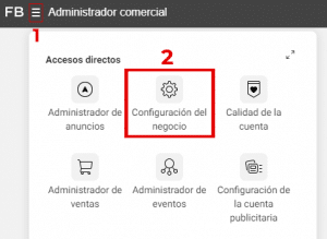 configuracion del negocio facebook business manager